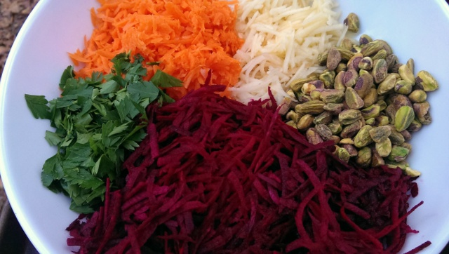beet salad ready to toss